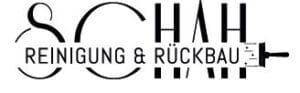 Schriftzug in schwarz-weiß mit kleinem Pinsel der Firma Schah Reinigung und Rückbau