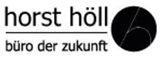 Schwarz-weißer Schriftzug der Firma Horst Höll mit stilisierter Büroklammer in schwarzem Punkt