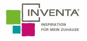 Grauer Schriftzug der Inventa mit vier unterschiedlichen Quadraten in pink, türkis und grün