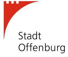 Schriftzug der Stadt Offenburg mit roter, stilisierter Burg im linken, oberen Eck