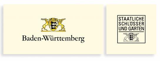 Wappen des Landes Baden-Württemberg mit Schriftzug Staatliche Schlösser und Gärten